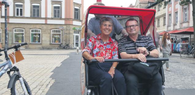 Rikscha-Rundfahrt mit Brigitte Merk-Erbe